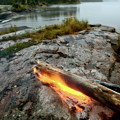 Log On Fire Manitoba Lake Wilderness by Mark Duffy