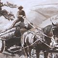 Log Wagon Historical Vignette by Dawn Senior-Trask