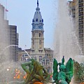 Logan Circle Fountain With City Hall In Backround 3 by Bill Cannon