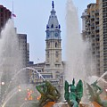 Logan Circle Fountain With City Hall In Backround 4 by Bill Cannon