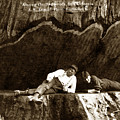 Logger With Ax On Springboard Loggers Sitting Inside Undercut  Circa 1890 by California Views Mr Pat Hathaway Archives