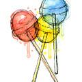 Lollipop Candy Watercolor by Olga Shvartsur