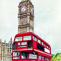 London Bus And Big Ben by Morgan Fitzsimons