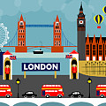 London England Horizontal Scene - Collage by Karen Young