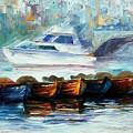 London-fog Over Thames - Palette Knife Oil Painting On Canvas By Leonid Afremov by Leonid Afremov