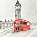 London Red Bus by Monika Howarth