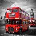 London Red Buses On Westminster Bridge by Melanie Viola