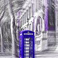 London Telephone Purple Blue by Alex Art and Photo