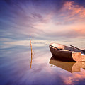 Lonely Boat And Amazing Sunset At The Sea by Diyana Dimitrova
