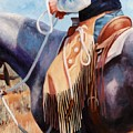 Long Fringed Chink Chaps Western Art Cowboy Painting by Kim Corpany