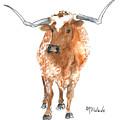 Longhorn 2 Runnin Wild Watercolor Painting By Kmcelwaine by Kathleen McElwaine