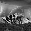 Longs Peak And Lightning In Black And White by James BO Insogna