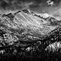 Longs Peak Rocky Mountain National Park Black And White by Ken Smith