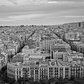 Looking Down On Barcelona From The Sagrada Familia Black And White by Toby McGuire