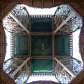 Looking Up Eiffel Tower by Linda Shackelford