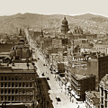Looking Up Market Street From The Call Building With City Hall Circa 1900 by California Views Archives Mr Pat Hathaway Archives