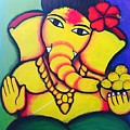 Lord Ganesh By  Sarada Tewari Acrylic Paint On Canvas 24x28inch by Sarada Tewari