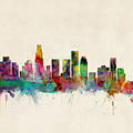 Los Angeles California Skyline Signed by Michael Tompsett
