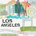 Los Angeles Cityscape- Art By Linda Woods by Linda Woods