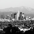 Los Angeles Downtown Skyline And Mountain Landscape - Square 1x1 Monochrome by Gregory Ballos
