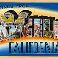 Los Angeles Vintage Travel Postcard Restored by Carsten Reisinger