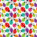Lots Of Crayon Colored Ladybugs by Elaine Plesser