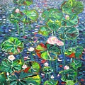 Lotus Flower Water Lily Lily Pads Painting by Seon-Jeong Kim