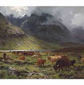 Louis Bosworth Hurt 1856-1929 Highland Cattle In A Glen by Louis Bosworth Hurt