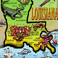 Louisiana Cartoon Map by Kevin Middleton