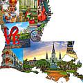 Louisiana Map - New Orleans by Steve Harrington
