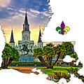 Louisiana Map - St Louis Cathedral by Steve Harrington
