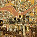 Louisville Kentucky Skyline Abstract 2 by Bekim Art