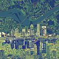 Louisville Kentucky Skyline Abstract 6 by Bekim Art