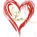 Love Always Modern Heart W Gold by Audrey Jeanne Roberts