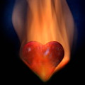 Love-heart In Flames by Manfred Lutzius