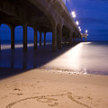 Love Heart In The Sand At Boscombe Pier by Ian Middleton