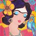 Lovely Frida And Little Blue Parrot by Karen Haring