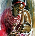 Lovely Masai Mother by William Mutua