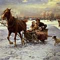 Lovers In A Sleigh by Alfred von Wierusz Kowalski