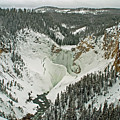 Lower Falls Of The Yellowstone Winter Yellowstone National Park by NaturesPix