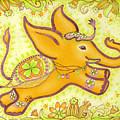 Lucky Elephant Orange by Judith Grzimek