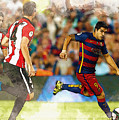 Luis Suarez Takes The Ball Past Athletic Bilbao's Eneko Boveda A by Don Kuing