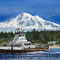 Lummi Island Ferry And Mt Baker by James Williamson