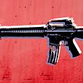 M16 Assault Rifle On Red by Michael Tompsett
