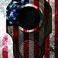 M1911 Colt 45 Muzzle And American Flag On Distressed Metal Sheet by M L C