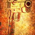 M1911 Muzzle On Rusted Background 3/4 View by M L C