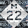 M22 Michigan Highway Symbol Recycled Vintage Great Lakes State License Plate Logo Art by Design Turnpike