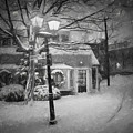 Mablehead Market Square Snowstorm Old Town Evening Black And White Painterly by Toby McGuire