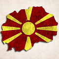 Macedonia Map Art With Flag Design by World Art Prints And Designs