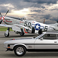 Mach 1 Mustang With P51  by Gill Billington